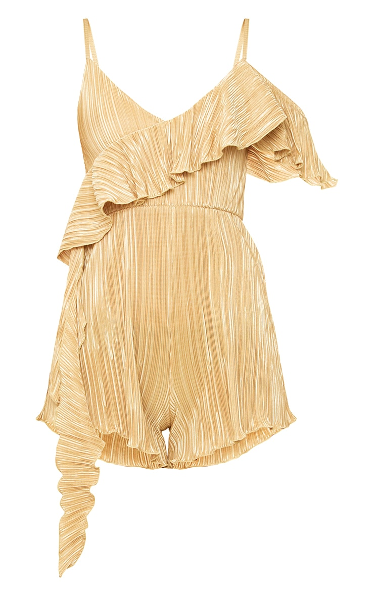 Gold Frill Sleeve Pleated Playsuit 3