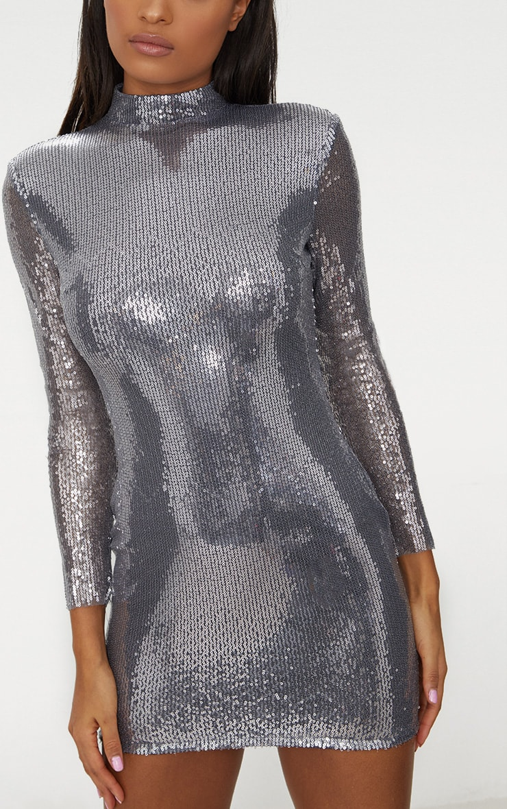 Silver Sequin Long Sleeve Shoulder Pad Bodycon Dress 5