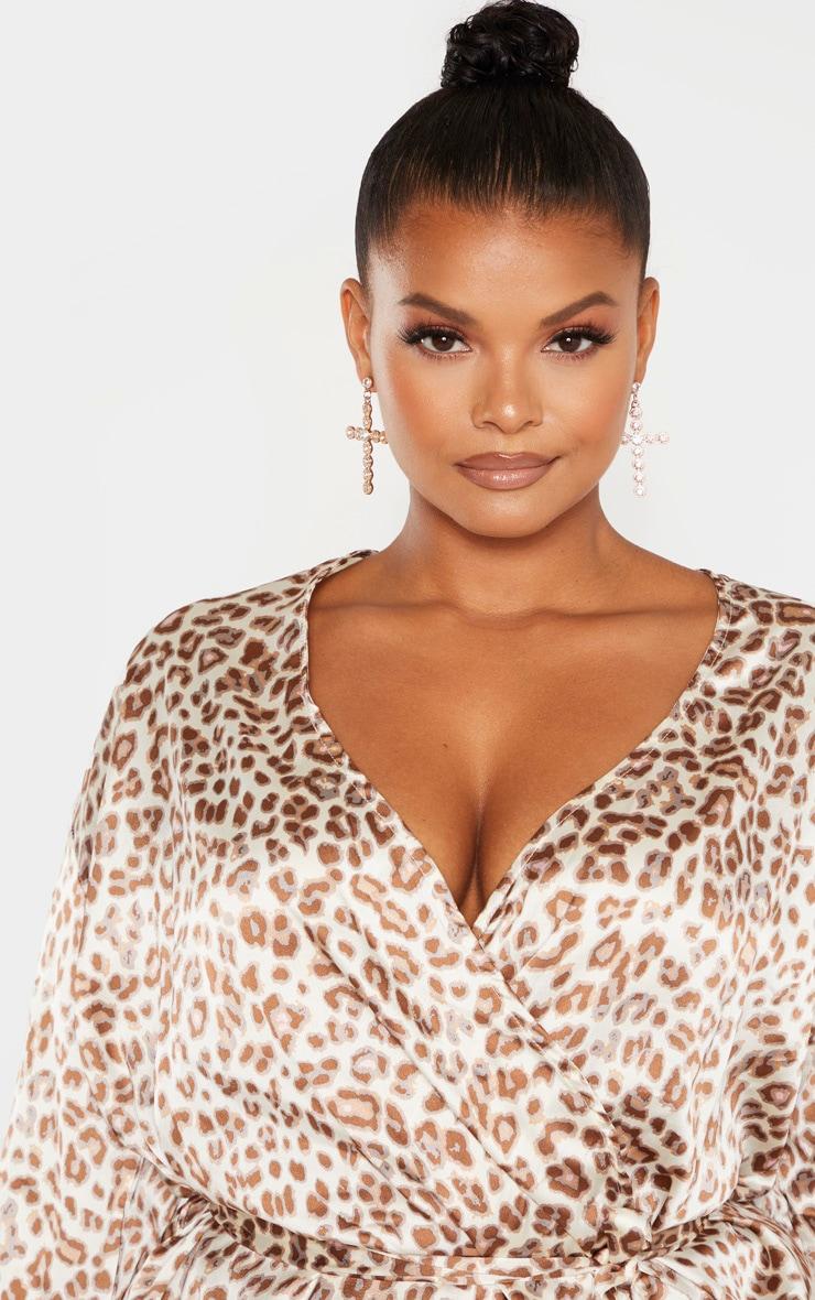Plus Cream Leopard Print Tie Waist Blouse 5