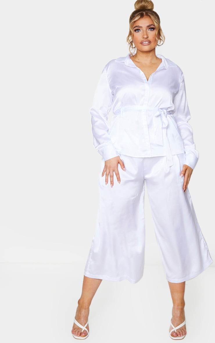 Plus White Satin Culottes 1