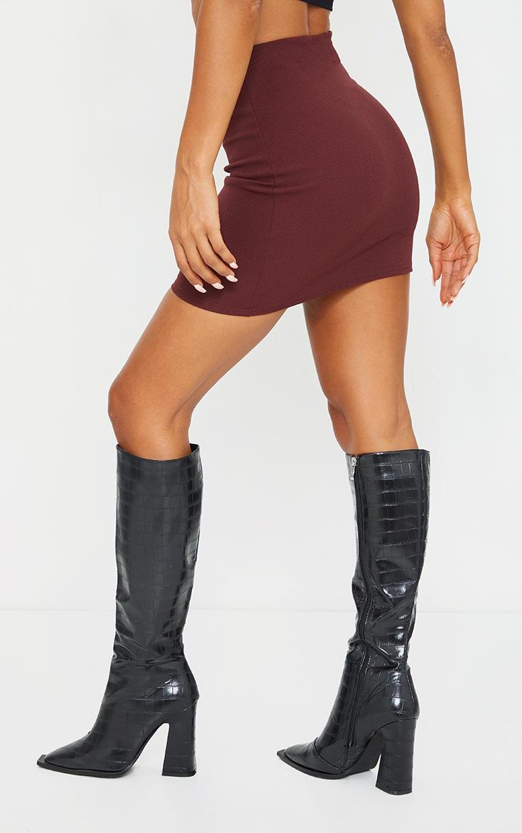 Burgundy Mini Suit Skirt 3