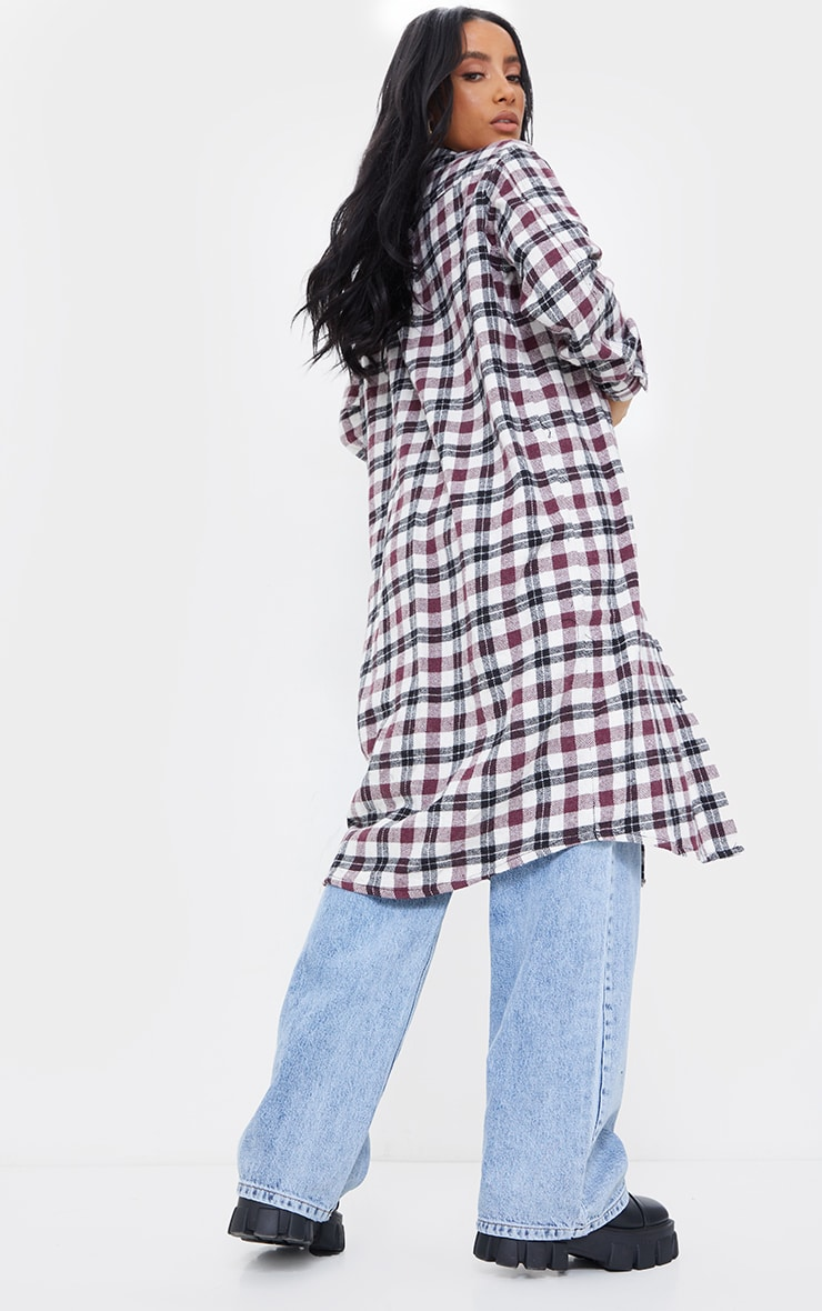 Red Check Button Down Maxi Shacket 2