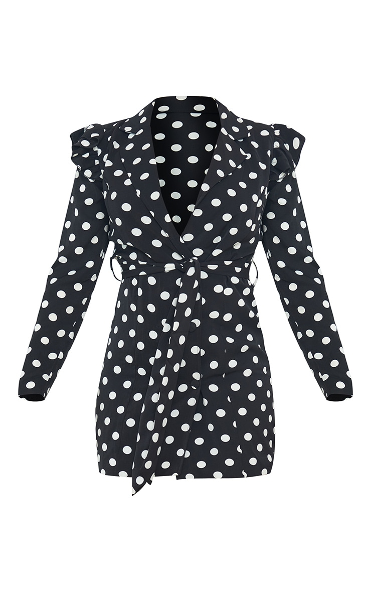 Black Polka Dot Ruffle Sleeve Tie Waist Blazer Dress 5