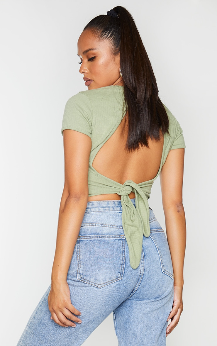 Olive Open Back Rib Crop Top 2