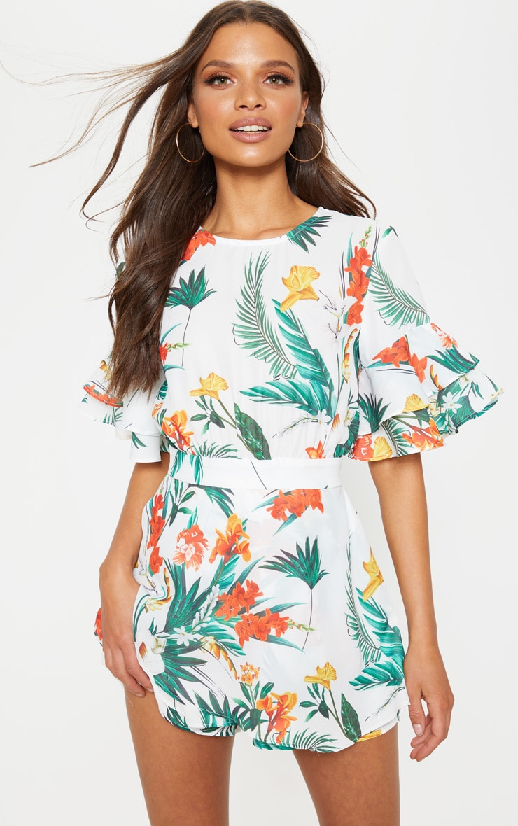 White Tropical Print Frill Sleeve Tie Back Playsuit 1
