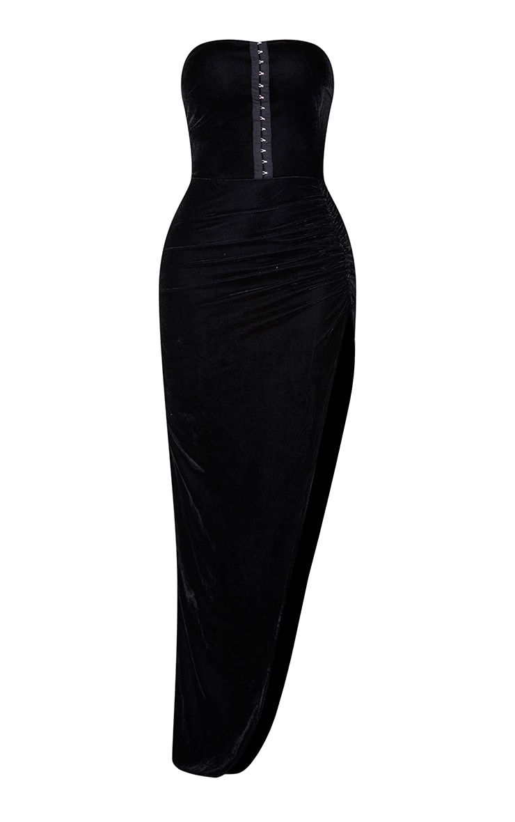 Shape Black Velvet Hook And Eye Bandeau Ruched Skirt Midaxi Dress 5