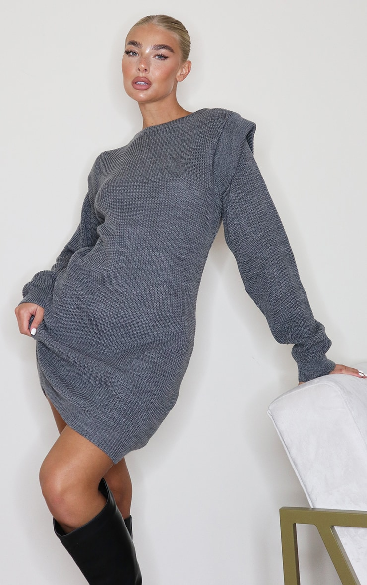 Grey Shoulder Detail Knitted Sweater Dress 1