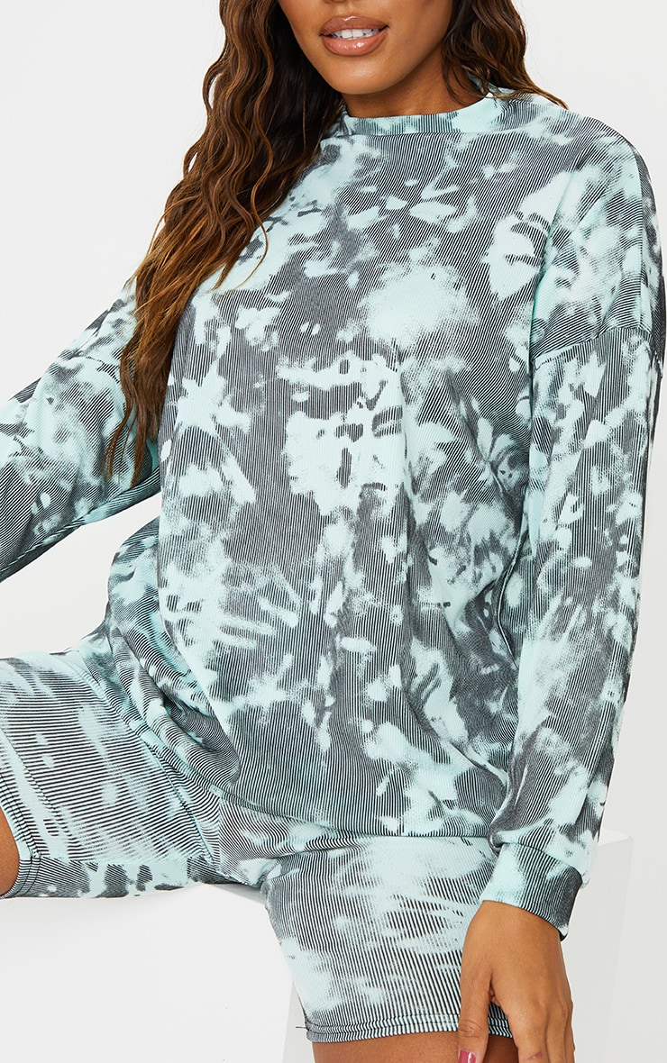 Turquoise Tie Dye Print Oversized Long Sleeve Sweater 4