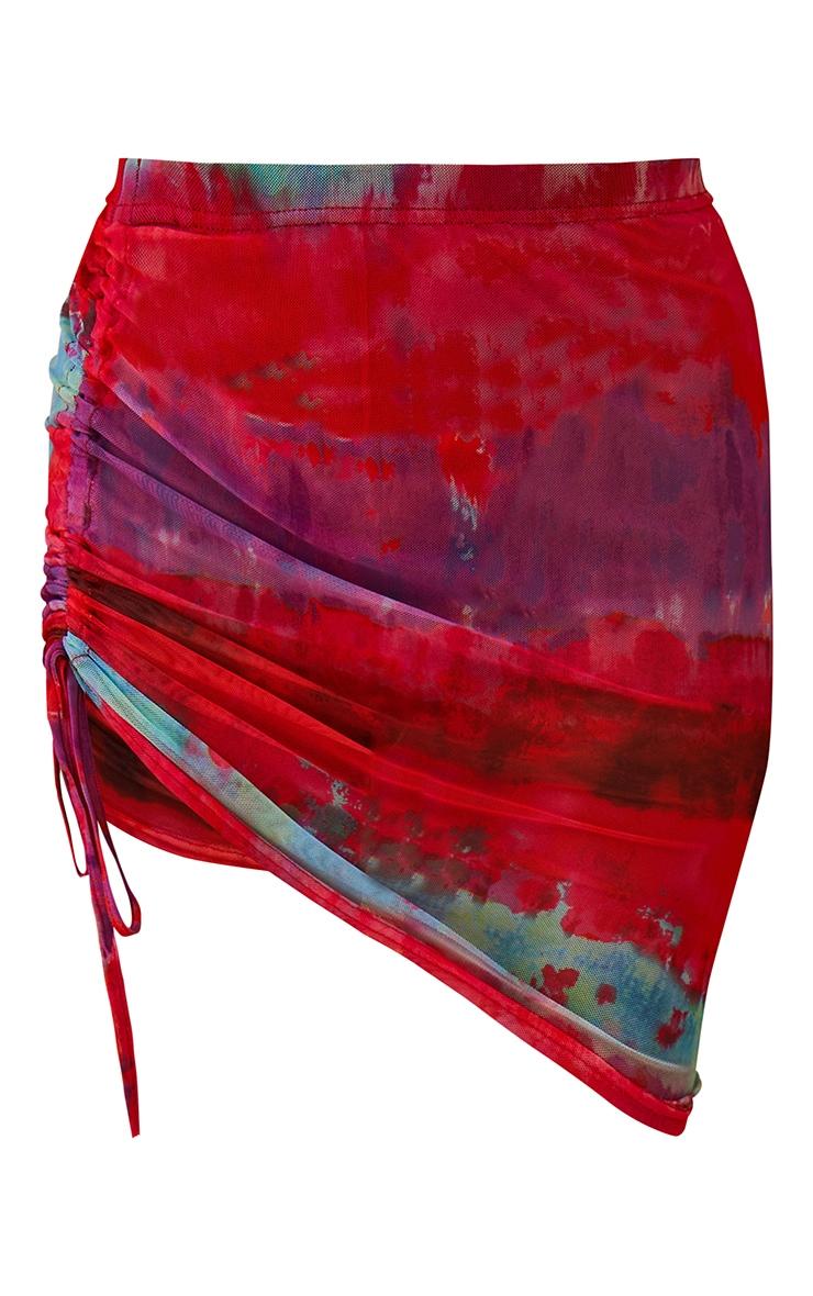 Multi Printed Ruched Mesh Mini Skirt 7