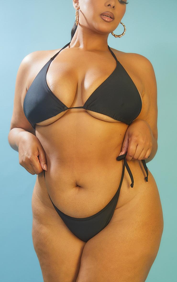 Recycled Plus Black Mix & Match Tie Side Bikini Bottoms 1