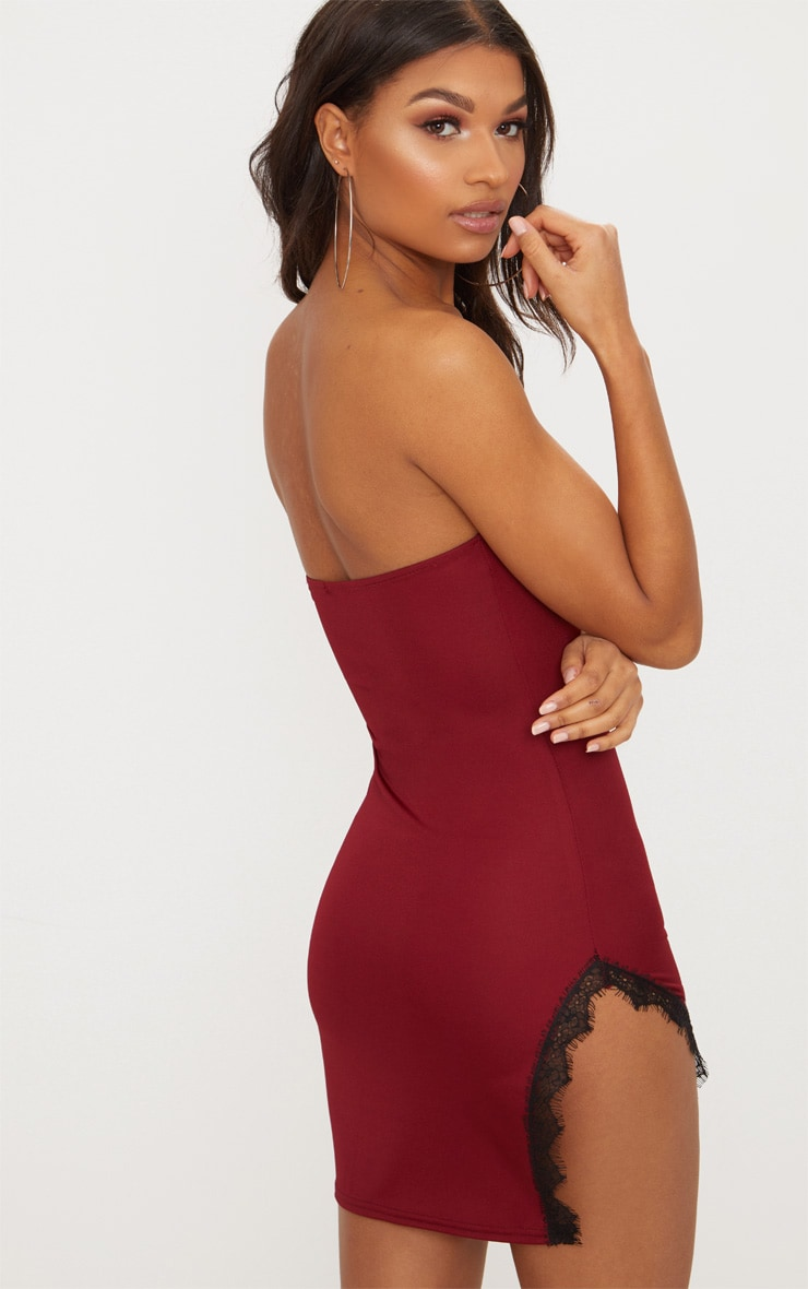 Burgundy  Bandeau Lace Trim Extreme Split Bodycon Dress 2