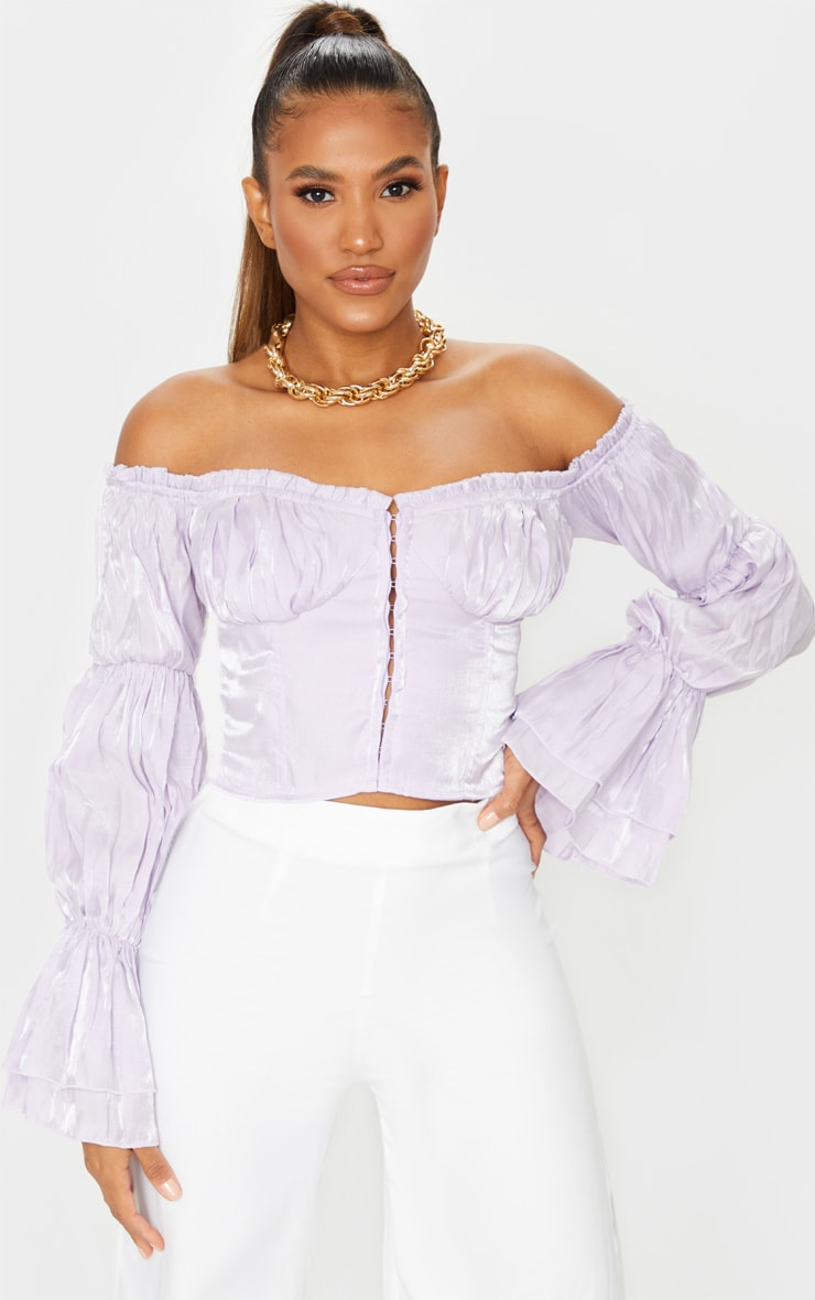 Lilac Sheer Cup Detail Bardot Long Sleeve Corset Top 1