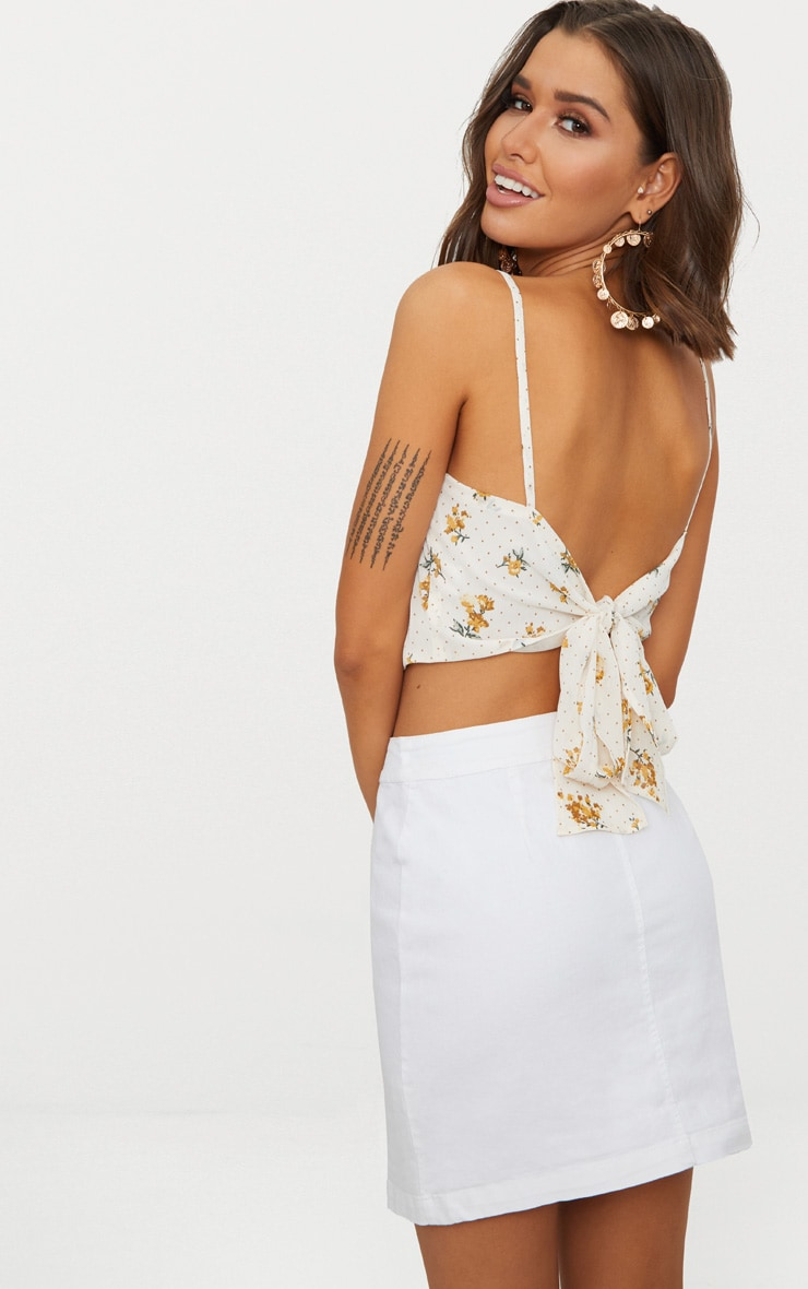 White Ditsy Floral Tie Back Crop Top  1