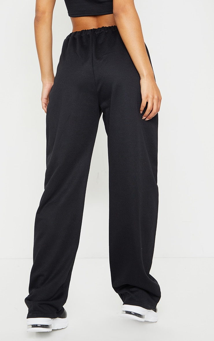 Black High Waist Seam Detail Wide Leg Joggers 3