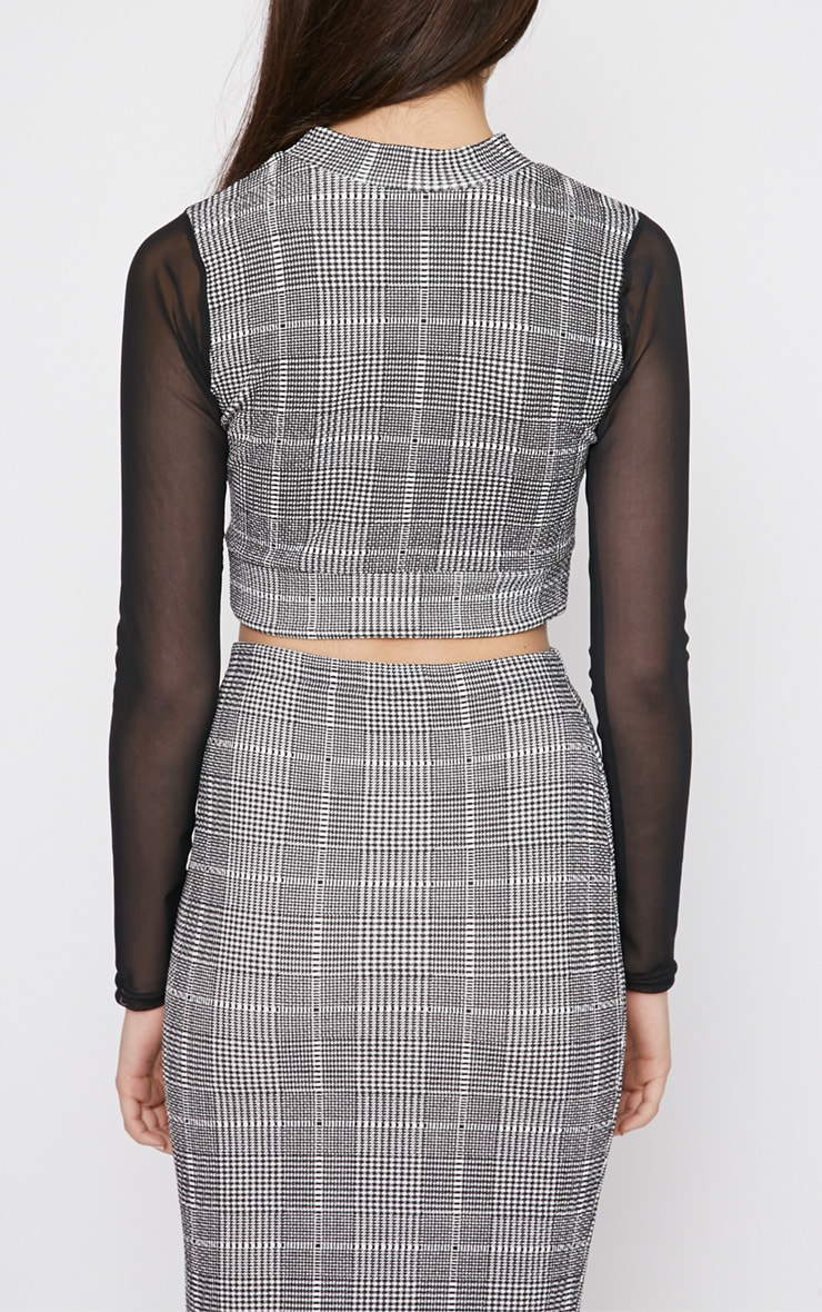 Alayna Monochrome Checked Mesh Crop Top  2