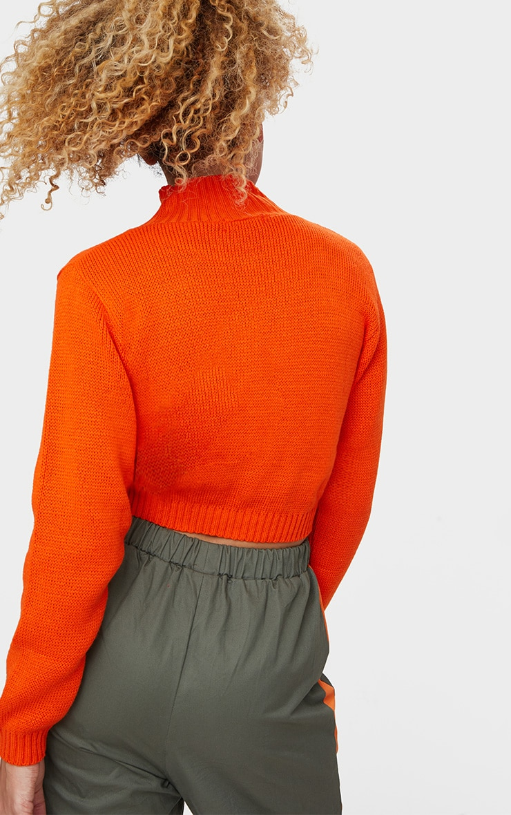 Orange High Neck Soft Knit Cropped Sweater 2