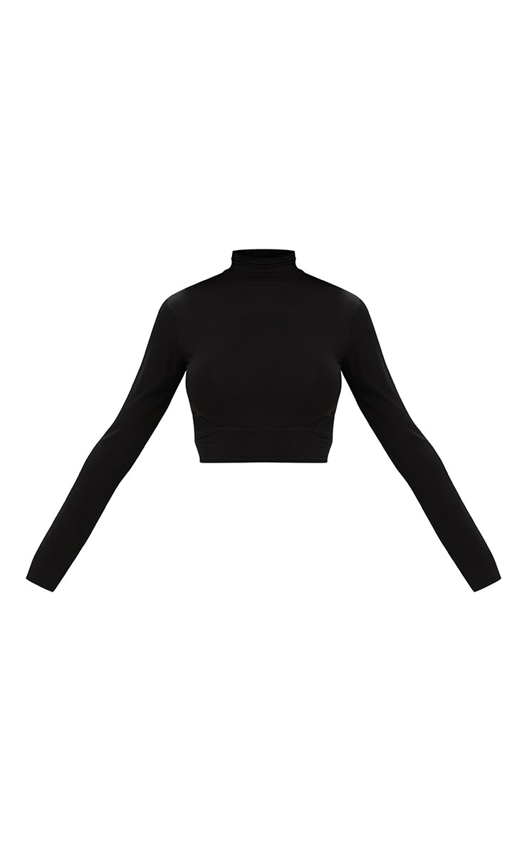 Black High Neck Longsleeve Cut Out Crop Top  3