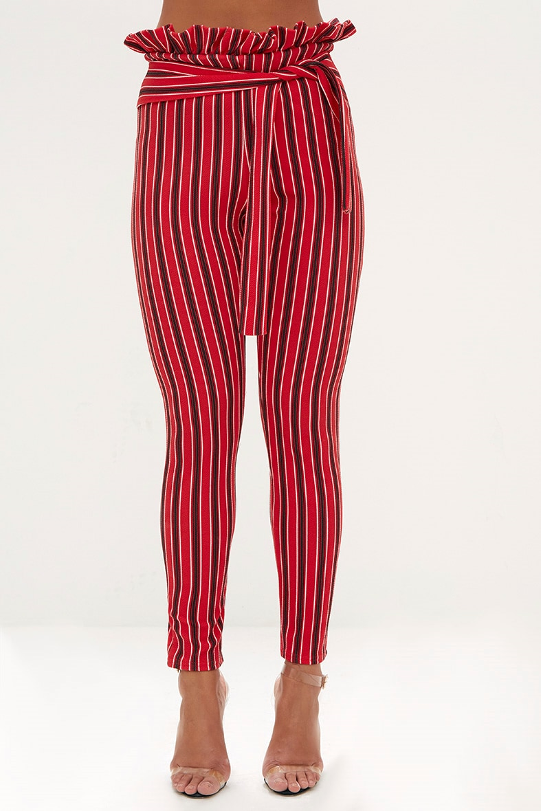 Red Stripe Paperbag Skinny Trousers 2