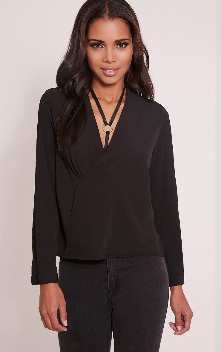 Maya Black Wrap Front Blouse 1