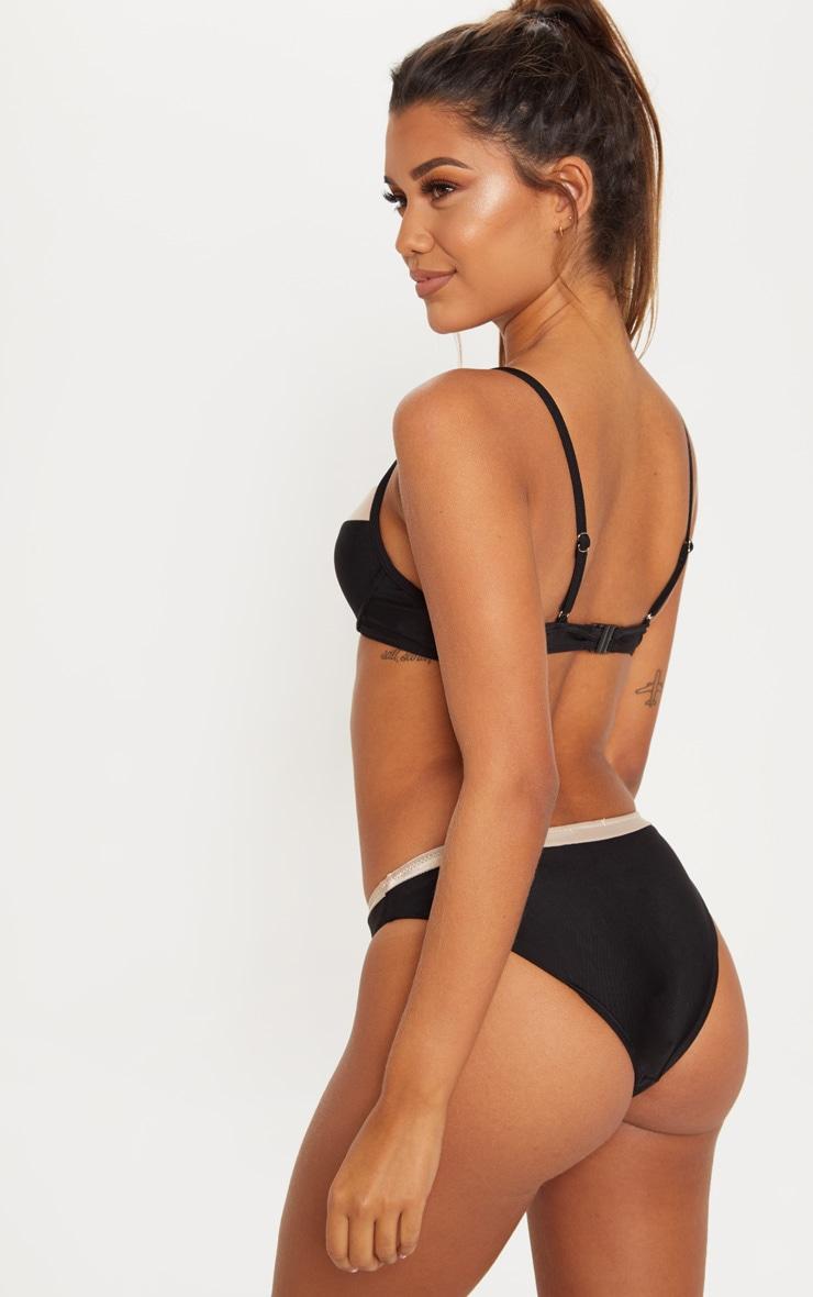 Black Contrast Cupped Bikini Top 2