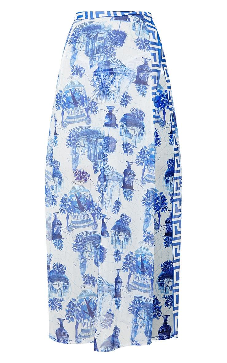 Blue Greek Key Print Split Beach Skirt 4