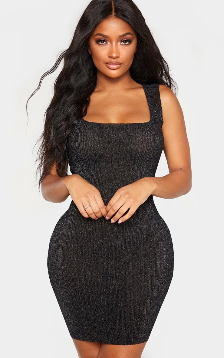Shape Black Glitter Ribbed Strappy Bodycon Dress 1