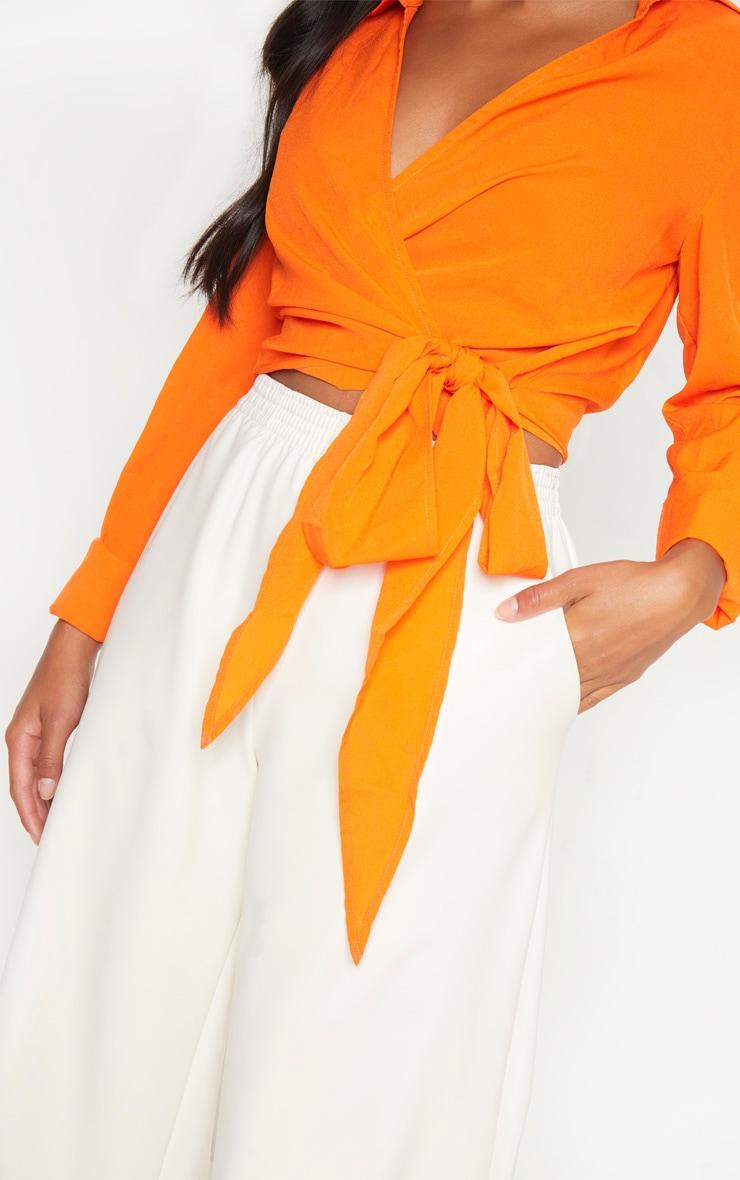 Petite Orange Tie Waist Blouse 5