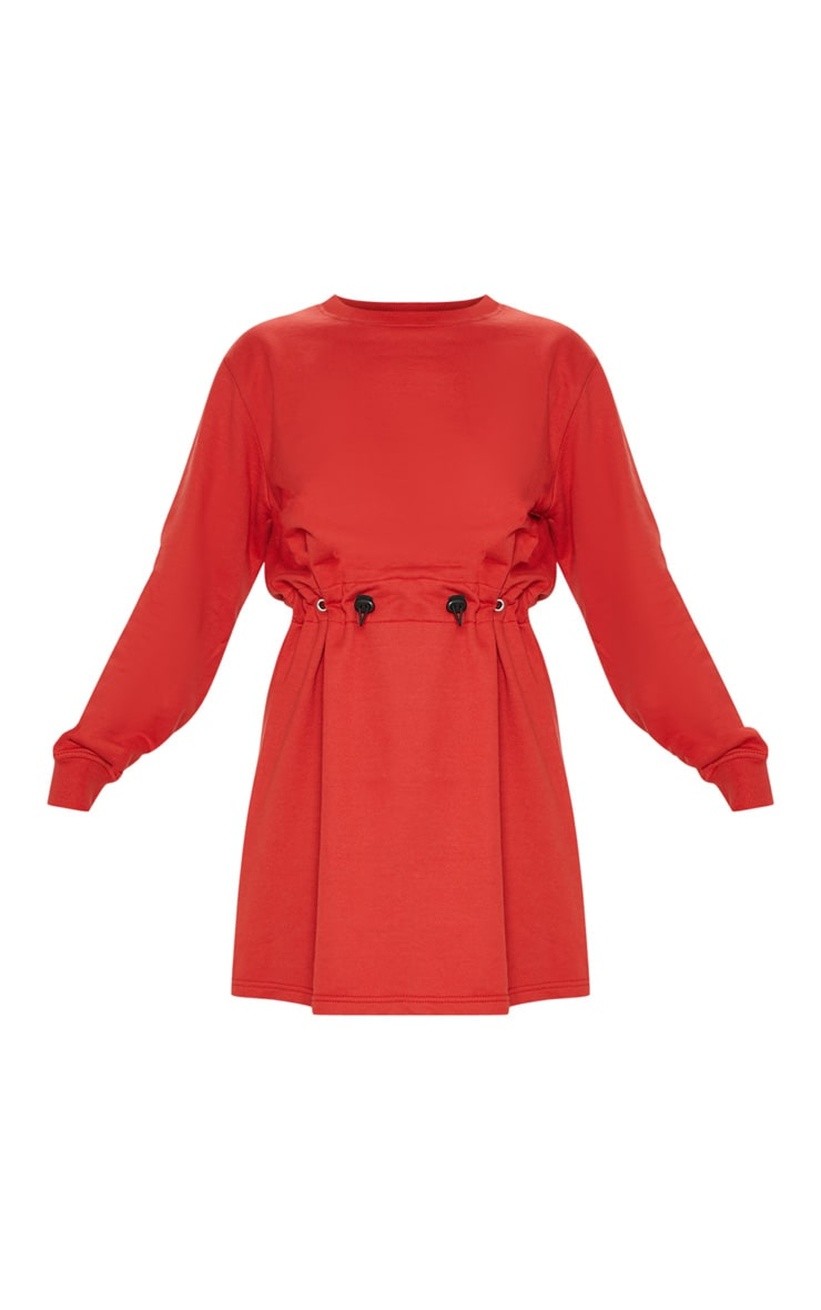 Red Toggle Front Sweat Jumper Dress 3