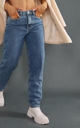 PRETTYLITTLETHING Vintage Wash Mom Jeans 3