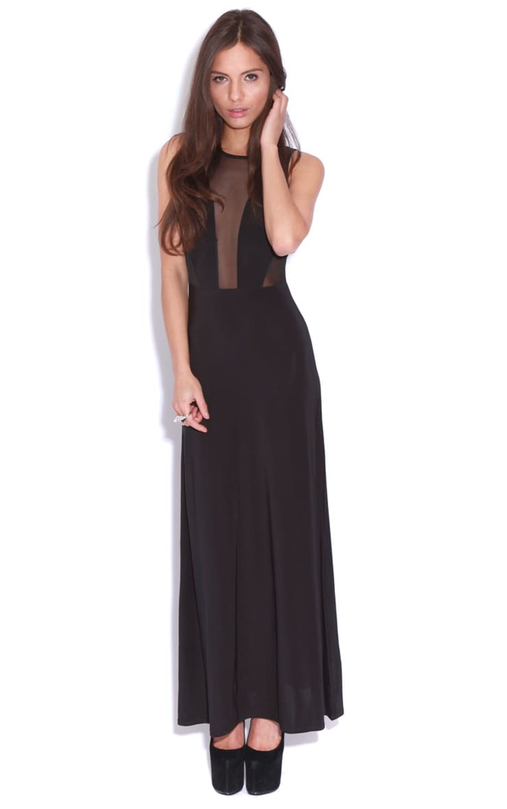 Laila Black Mesh Maxi Dress  1