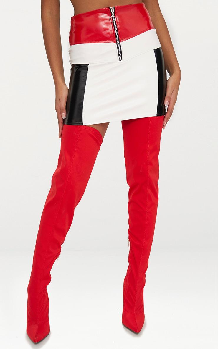 Petite Red Contrast Vinyl Mini Skirt 2