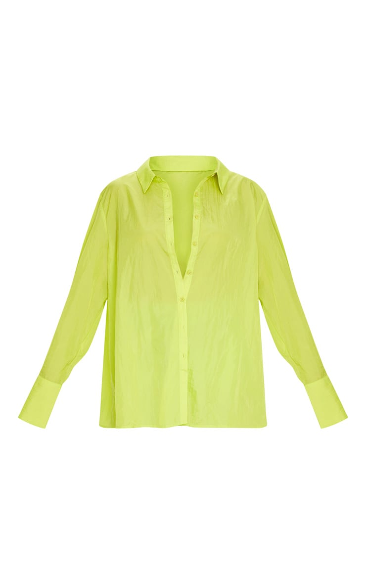 Lime Green Oversized Sheer Cuff Shirt 5