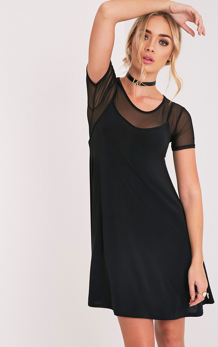 Abby Black Slinky Swing Dress 1