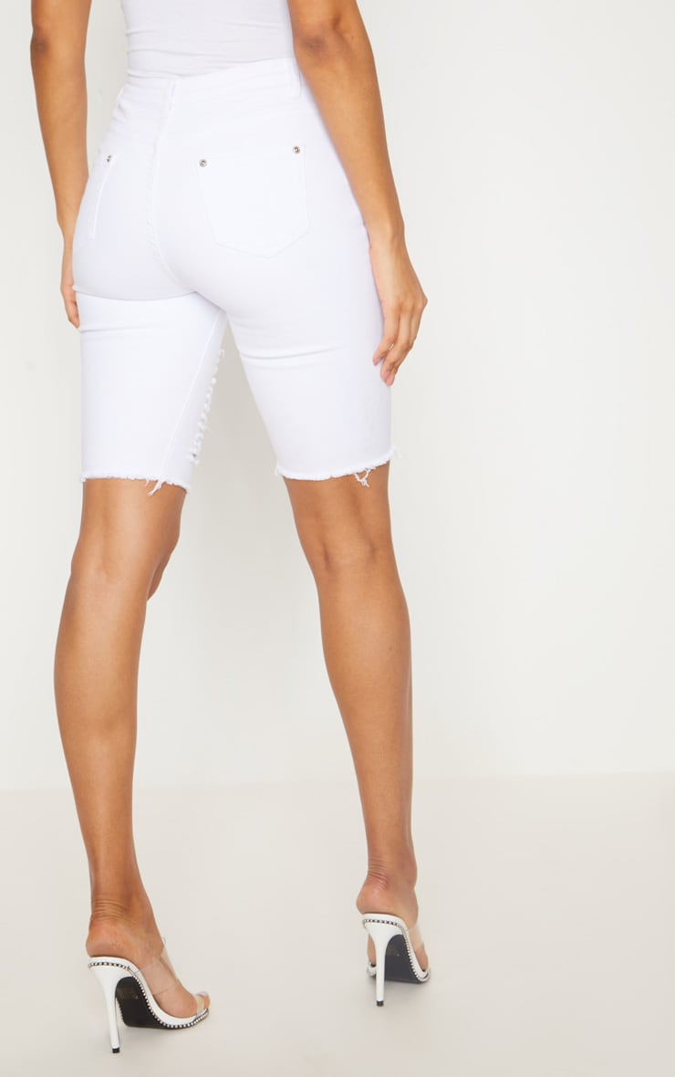 White Keena Super Distress 3/4  Skinny Fit Short 4