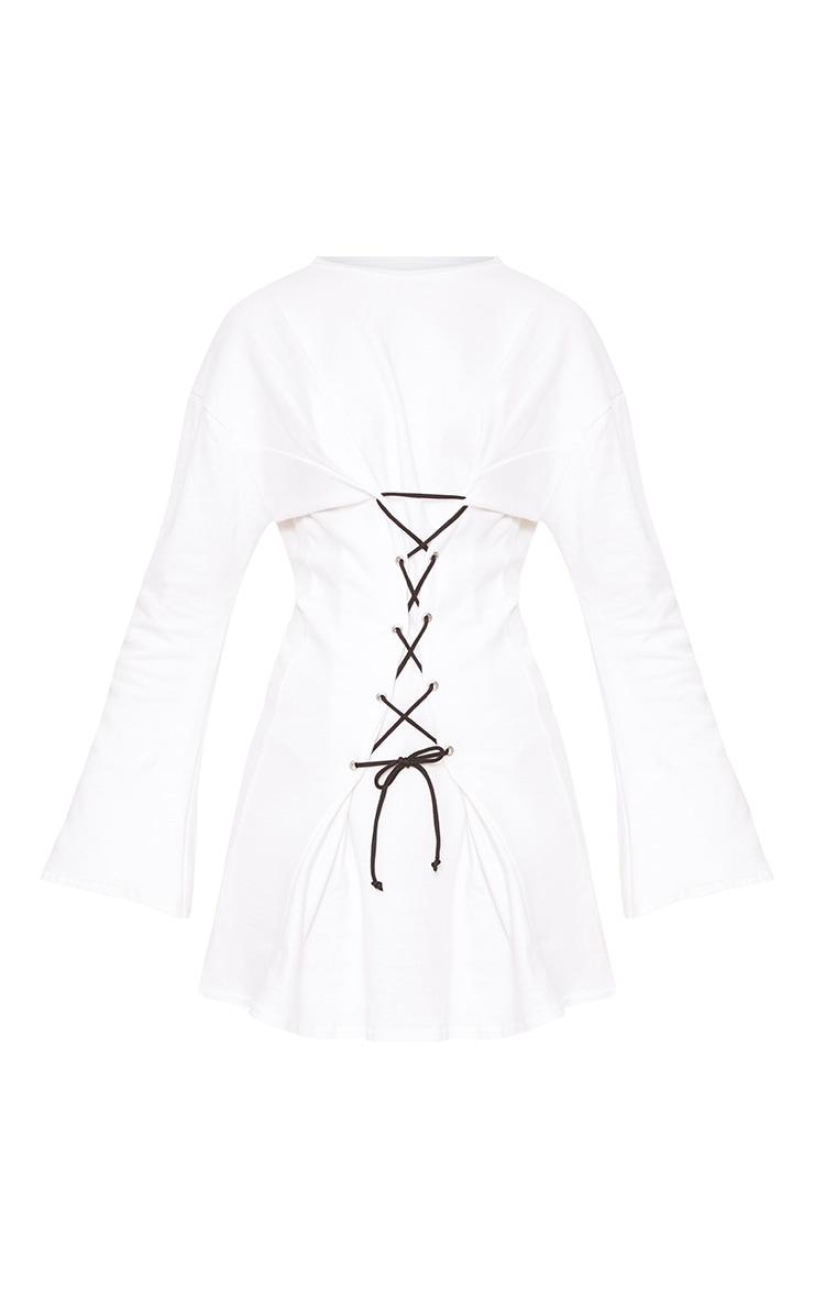 White Loop Back Flared Sleeve Corset Detail Sweater Dress 3