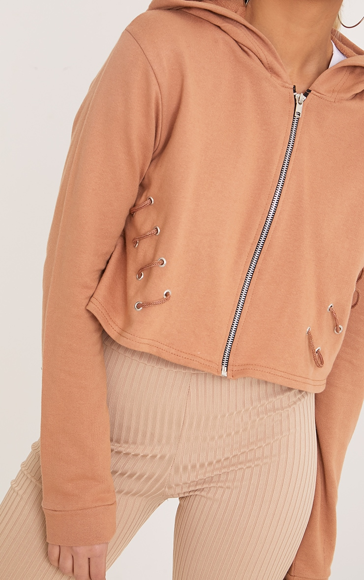 Imogen Peach Lace Up Detail Cropped Hoodie 5