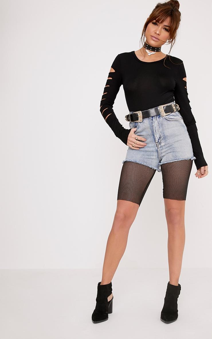 Keri Black Ripped Sleeve Jersey Bodysuit 5