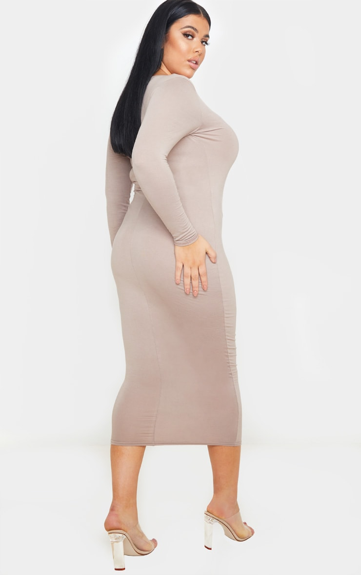 Plus Mocha Jersey V Neck T- Shirt Midi Dress 3