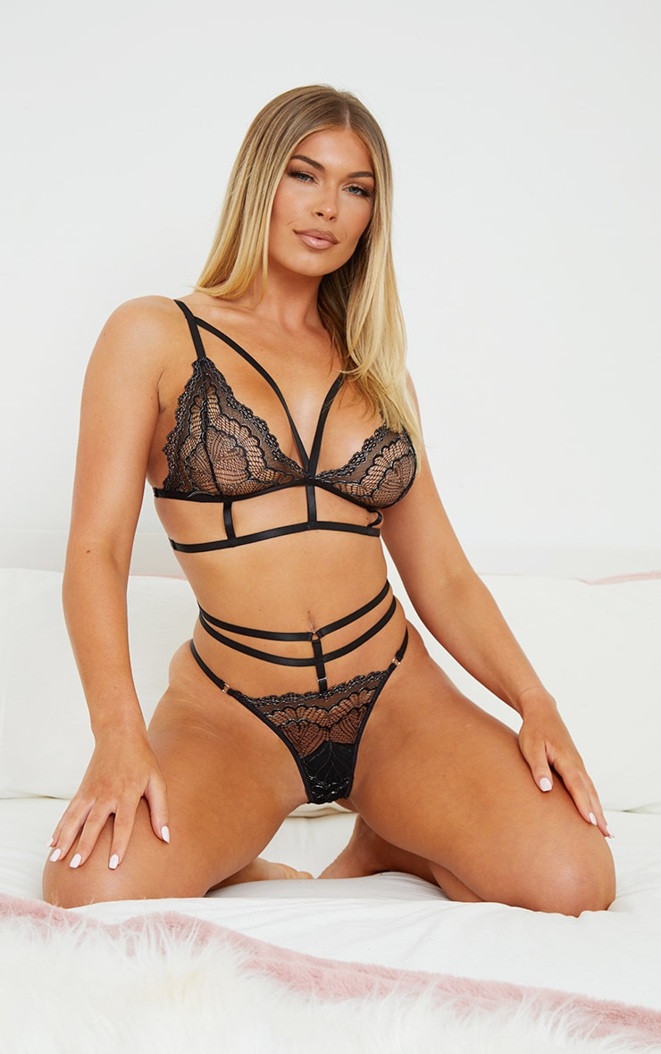 Black Triangle Strappy Metallic Lace Lingerie Set 3