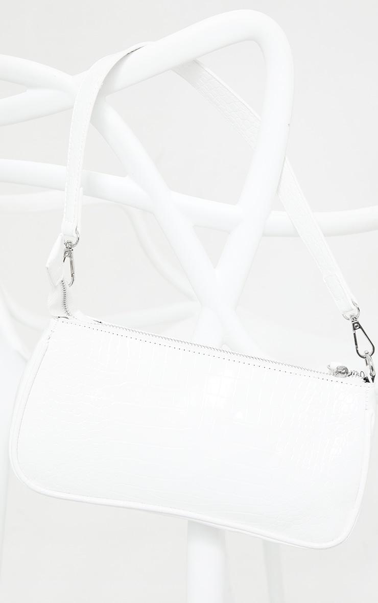 White Croc Shoulder Bag 2