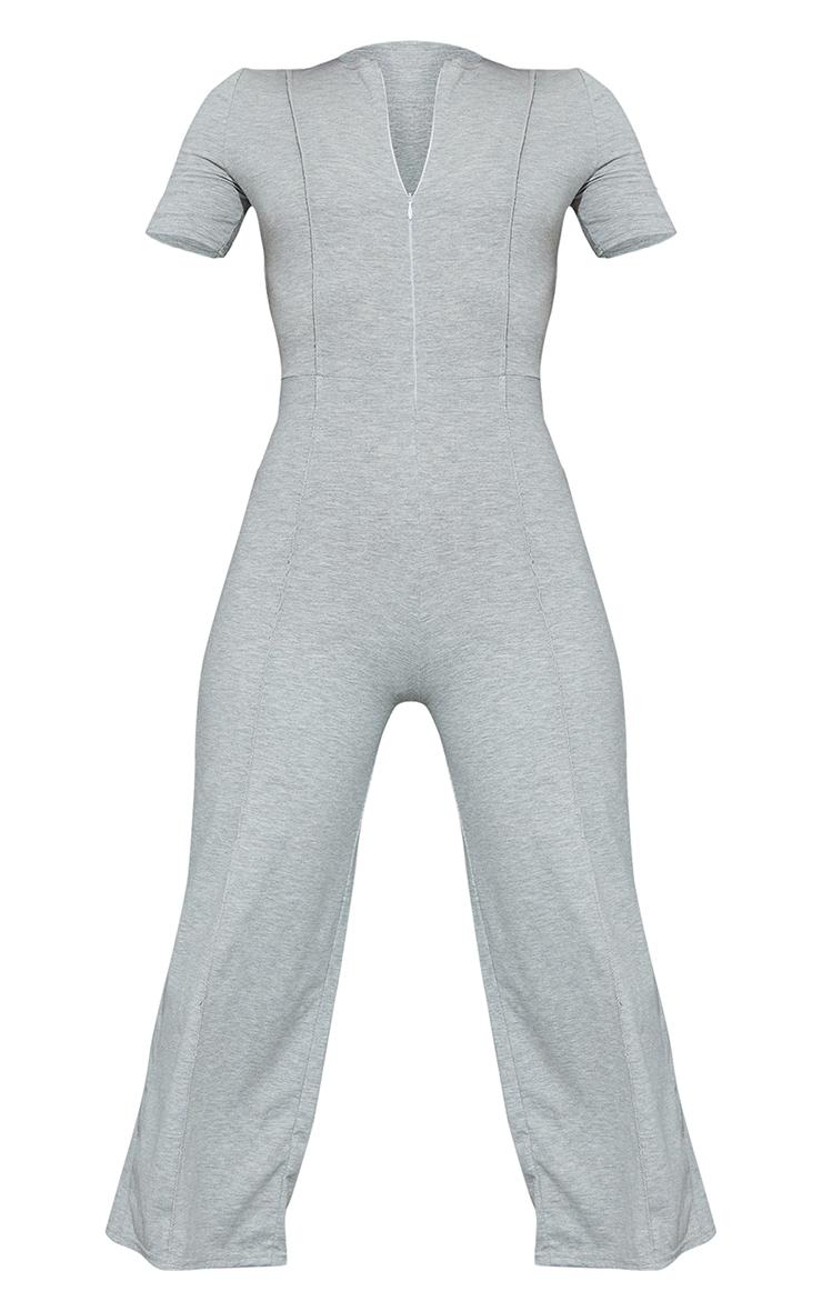 Grey Marl Seam Detail Zip Front Culotte Jumpsuit 5