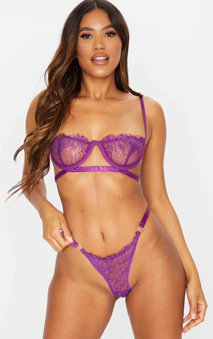 Purple Ring Detail Underwired Lingerie Set 1