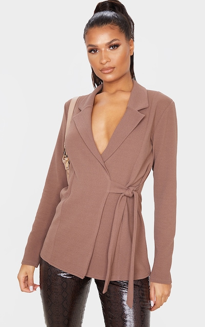 Chocolate Tie Side Blazer