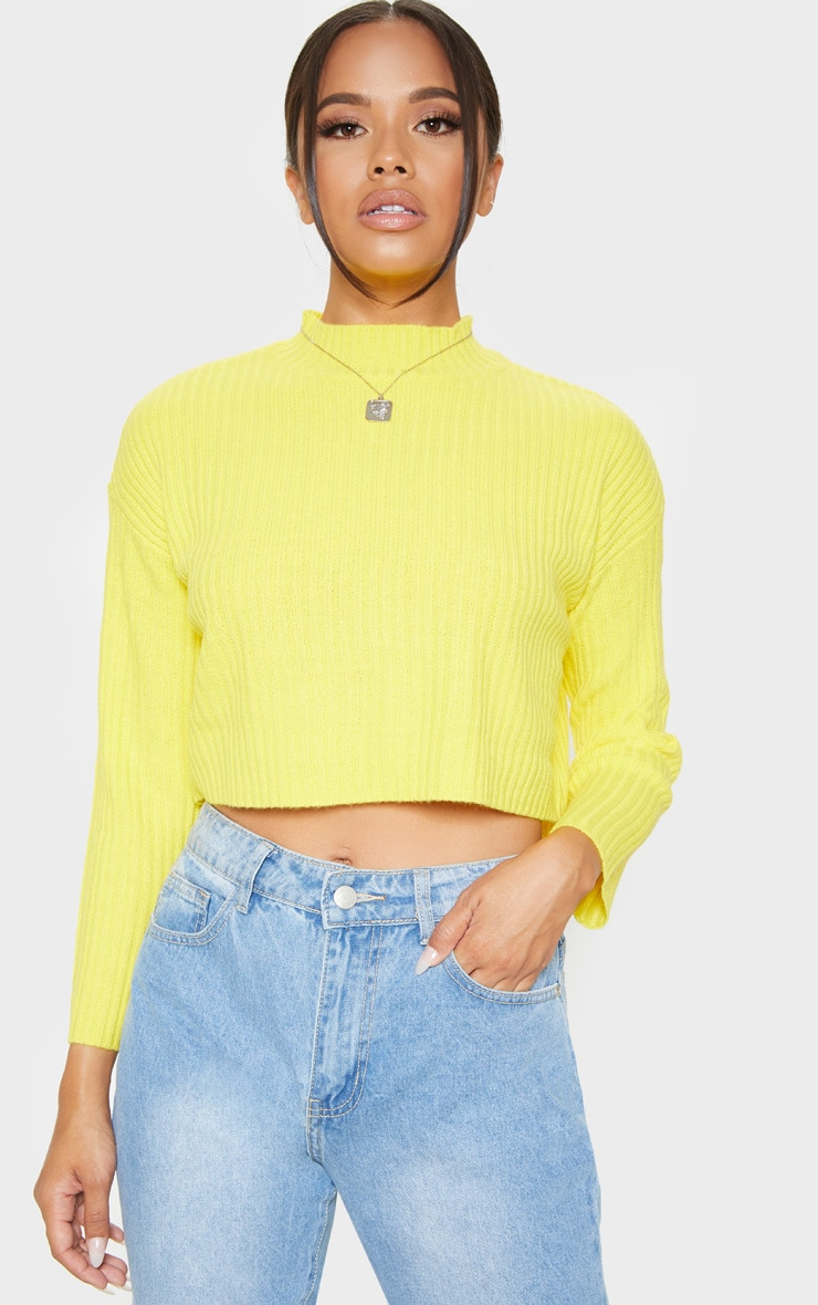 Yellow Cropped Ribbed Knitted Jumper  4