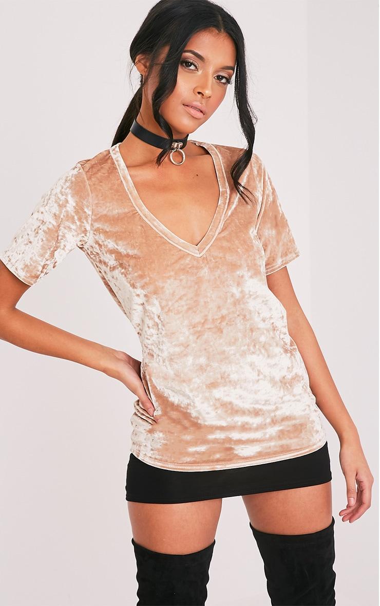 Suri t-shirt surdimensionné côtelé en velours champagne 1