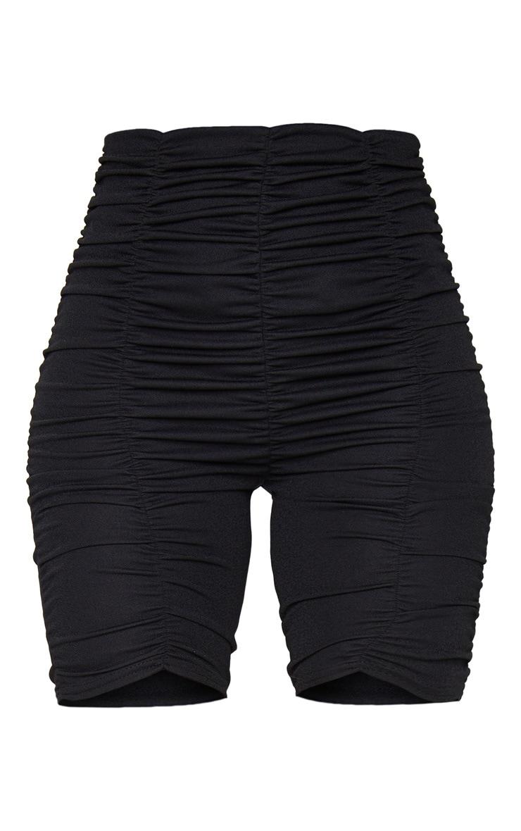 Black Ruched Bike Shorts 5