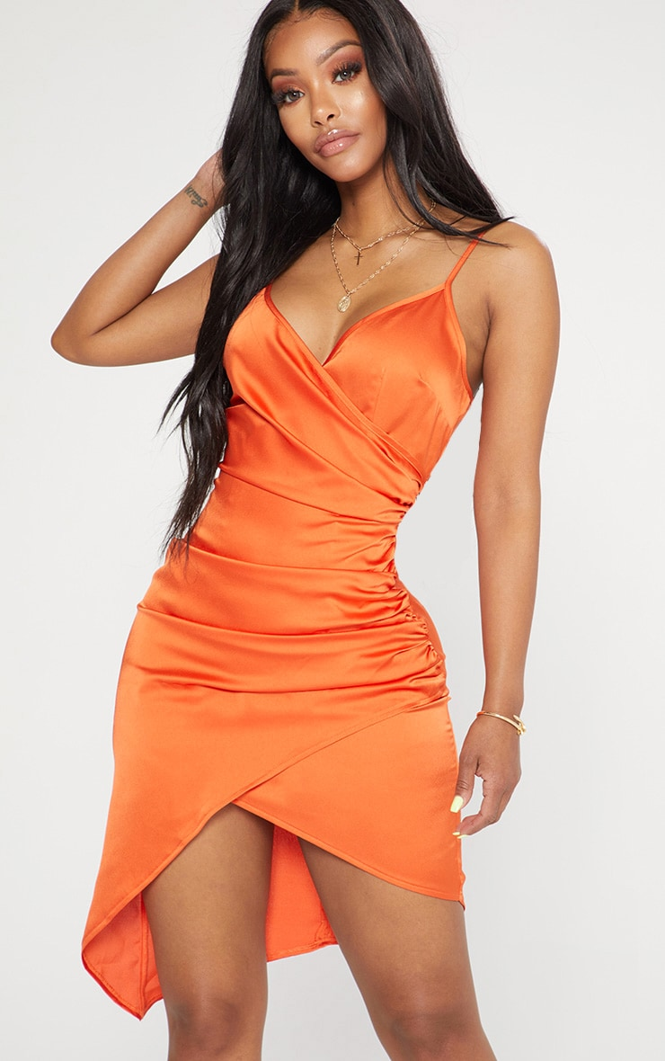Shape Tangerine Satin Wrap Dress 1