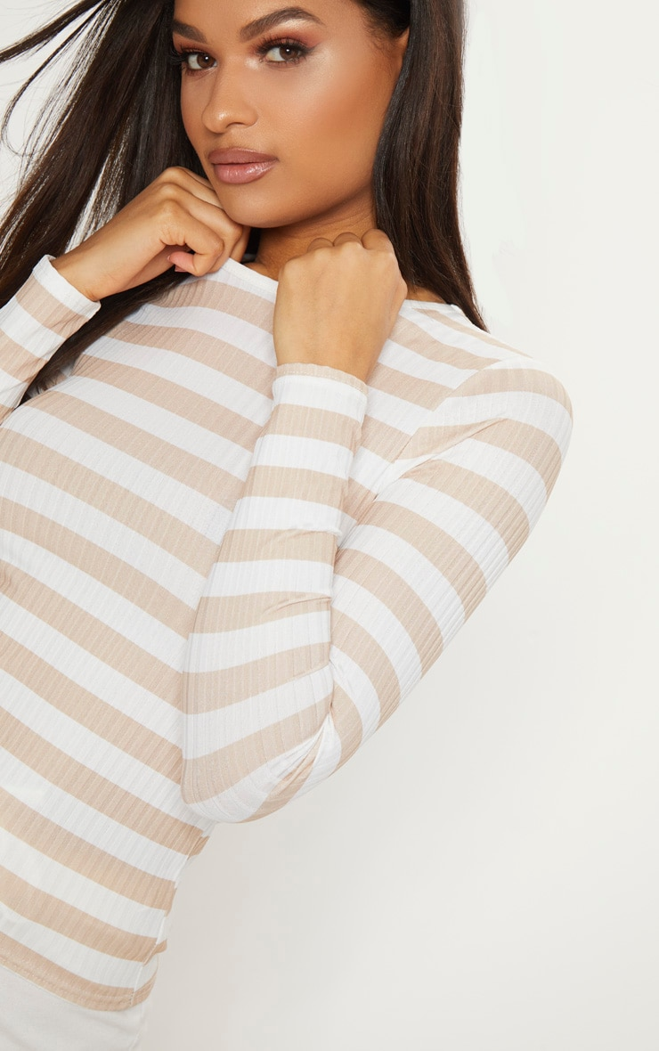Nude Rib Stripe Long Sleeve Fitted Top     5