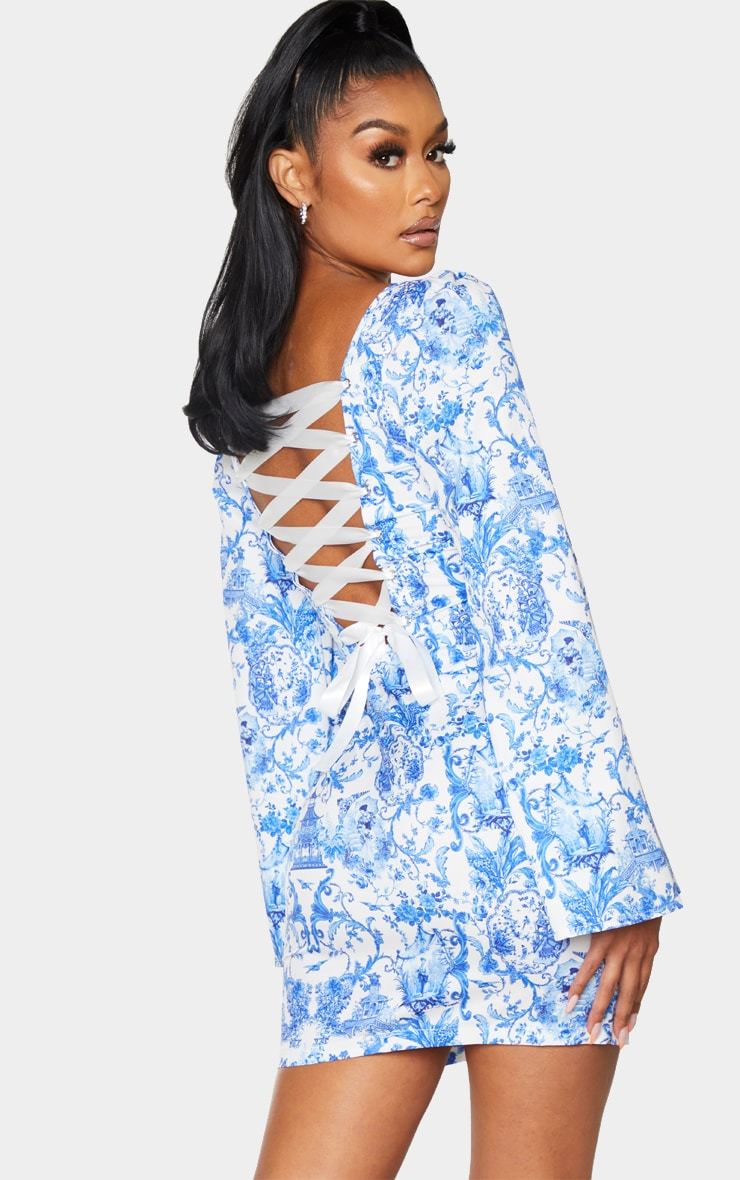 Blue Porcelain Print Satin Lace Up Back Bodycon Dress 1