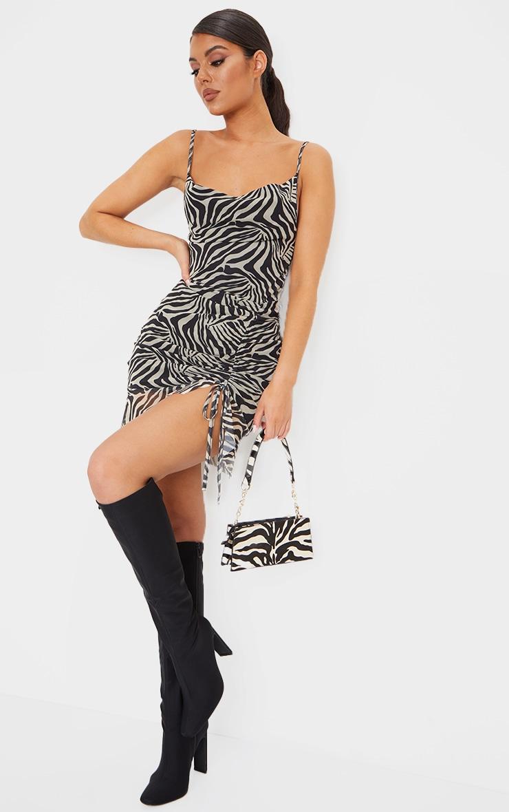 Brown Mesh Zebra Print Ruched Bodycon Dress 3